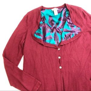 Soft Surroundings Maroon Cardigan